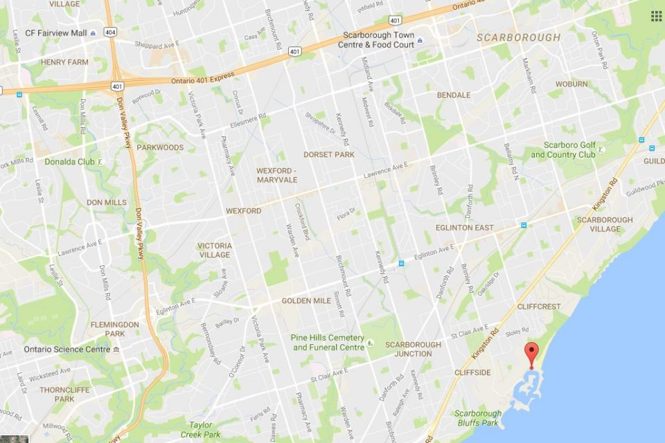 map going bluffers park